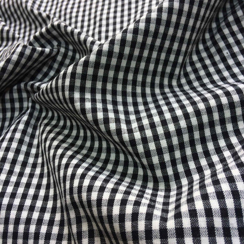 100% Organic Cotton Small Check Gingham Black