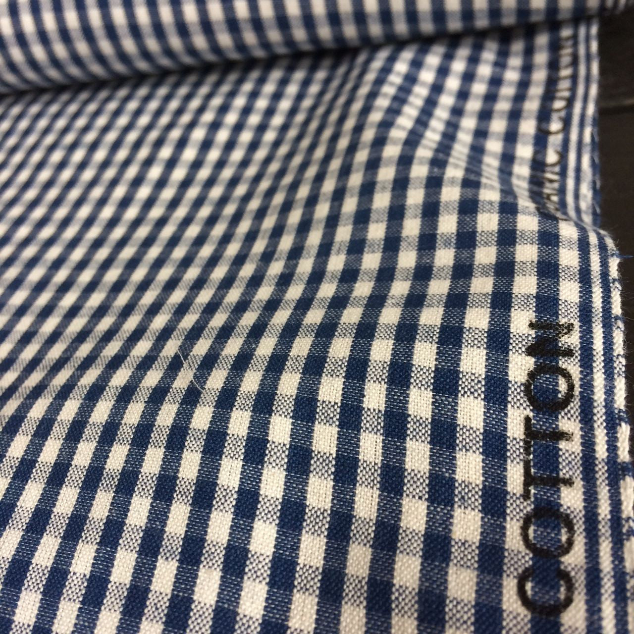100% Organic Cotton Small Woven Gingham Check Navy