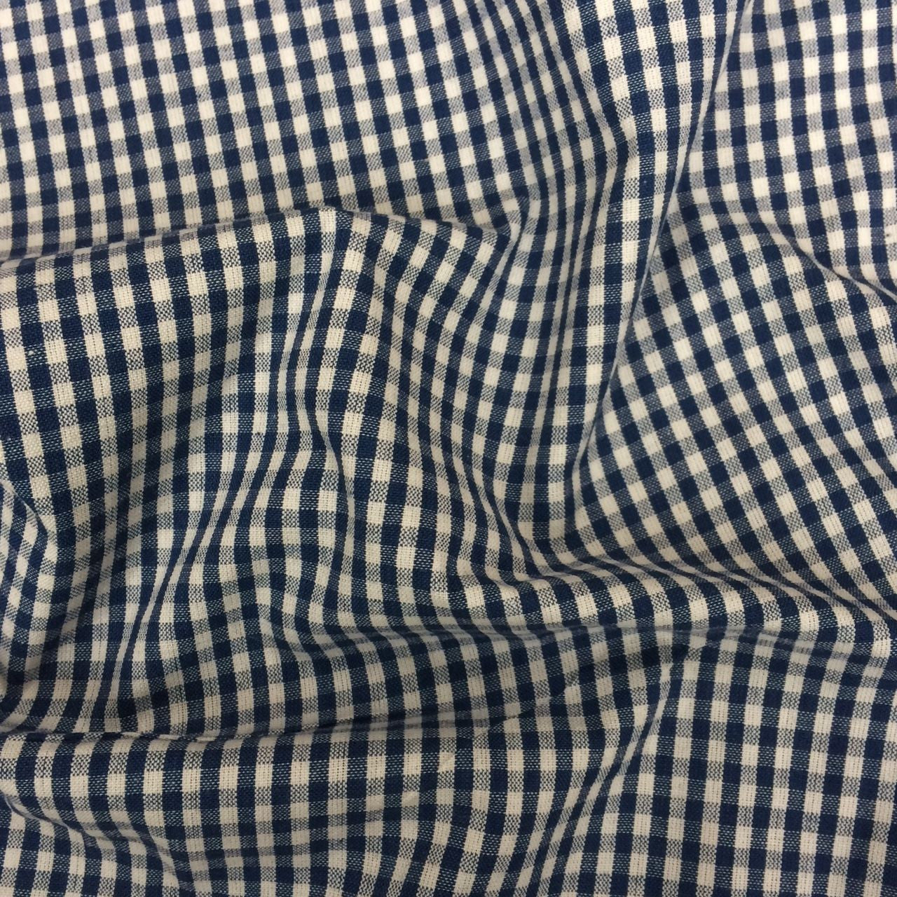 Organic Cotton Small Check Gingham Fabric Navy The Draper S Daughter