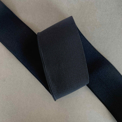 50mm Smooth Flat Elastic Black