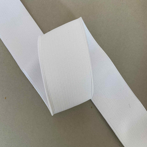 50mm Smooth Flat Elastic White