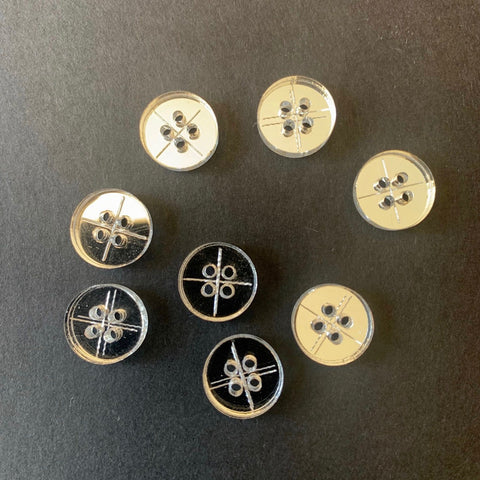 Arrow Mountain 4 Hole Shirt Acrylic Silver Mirror  Buttons 12mm