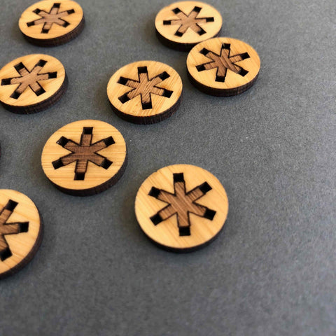 Arrow Mountain Asterisk Bamboo  Buttons 12mm