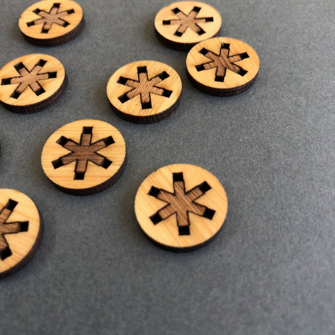 Arrow Mountain Big Asterisk Bamboo Buttons