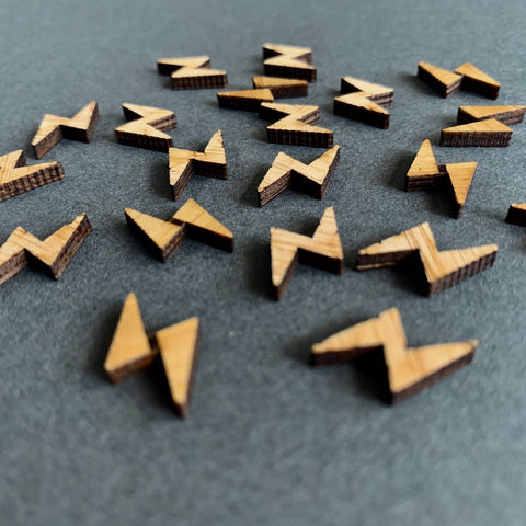 Arrow Mountain Lightning Bolt Bamboo  Buttons 12mm