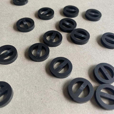 Arrow Mountain Minimalist Acrylic Buttons Matt Black 13mm