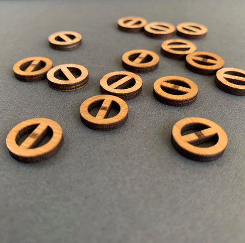 Arrow Mountain Minimalist Bamboo Buttons 13mm