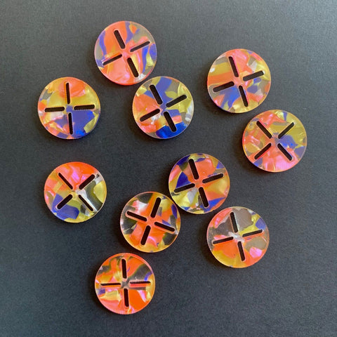 Arrow Mountain Sashiko Acrylic Buttons Candy
