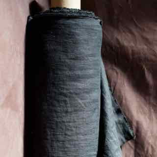 Merchant and Mills Scuttle Black Laundered Linen Fabric
