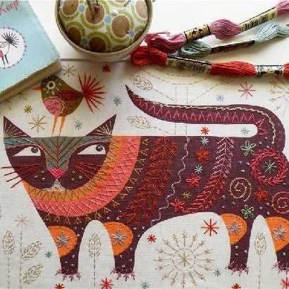 Nancy Nicholson Cat Embroidery Stitch Kit