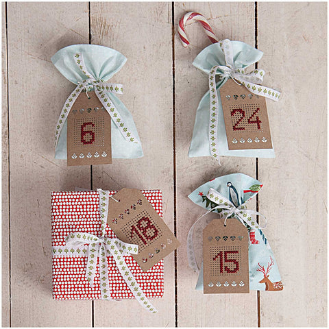 Rico Embroidery Cross Stitch Gift Tags Kraft