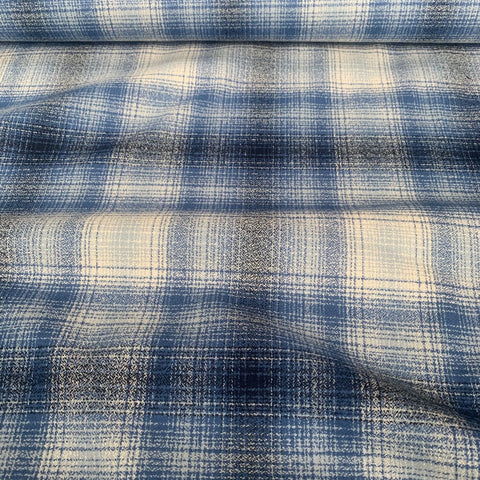 Robert Kaufman Mammoth Check Flannel Fabric Blue