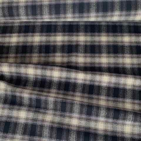 Robert Kaufman Mammoth Check Flannel Fabric Black & Oatmeal