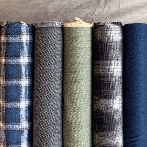 Robert Kaufman Shetland Textured Flannel Fabric Navy