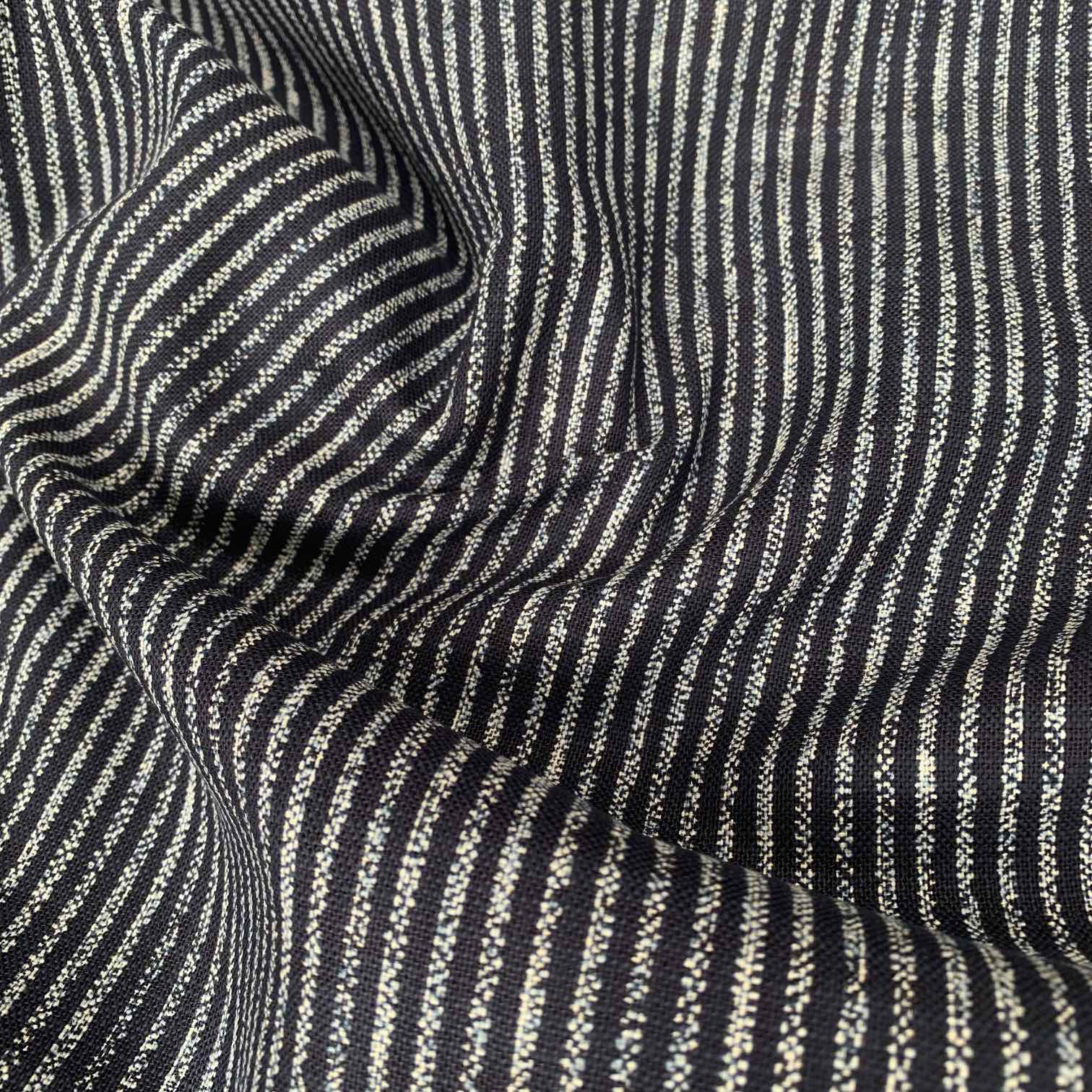 Sevenberry Rustic Indigo Cotton Fabric Broken Lines