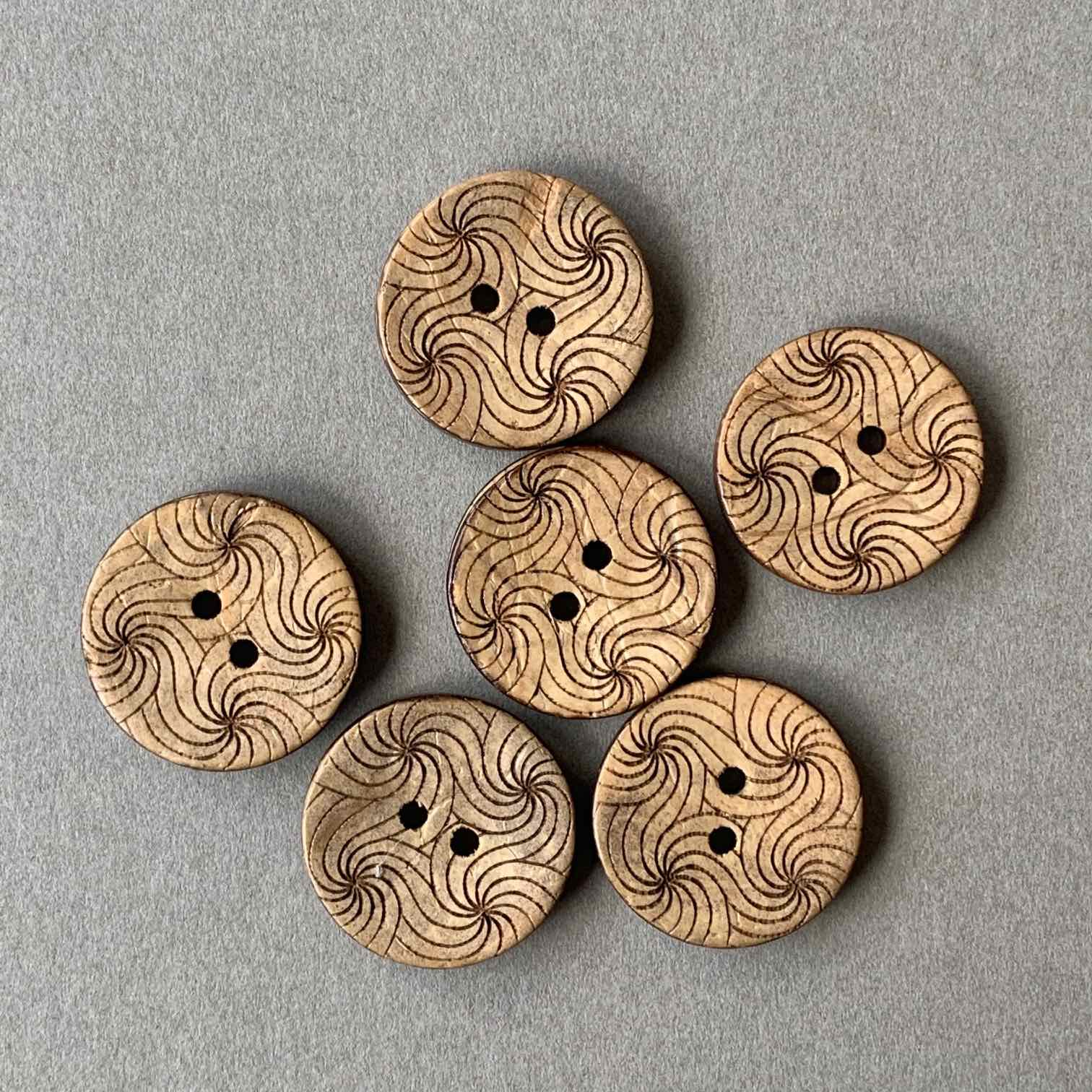 Swirly Coconut Buttons 23mm