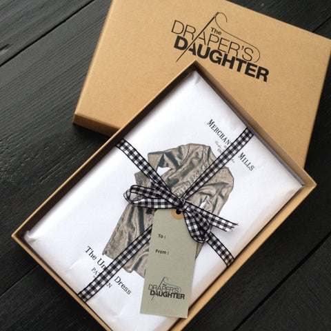 The Draper's Daughter Gift Box with Merchant and Mills Sewing Patterns