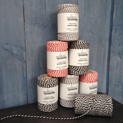 The Draper's Daughter Traditional Baker's Twine in Red, Black & Steel Grey