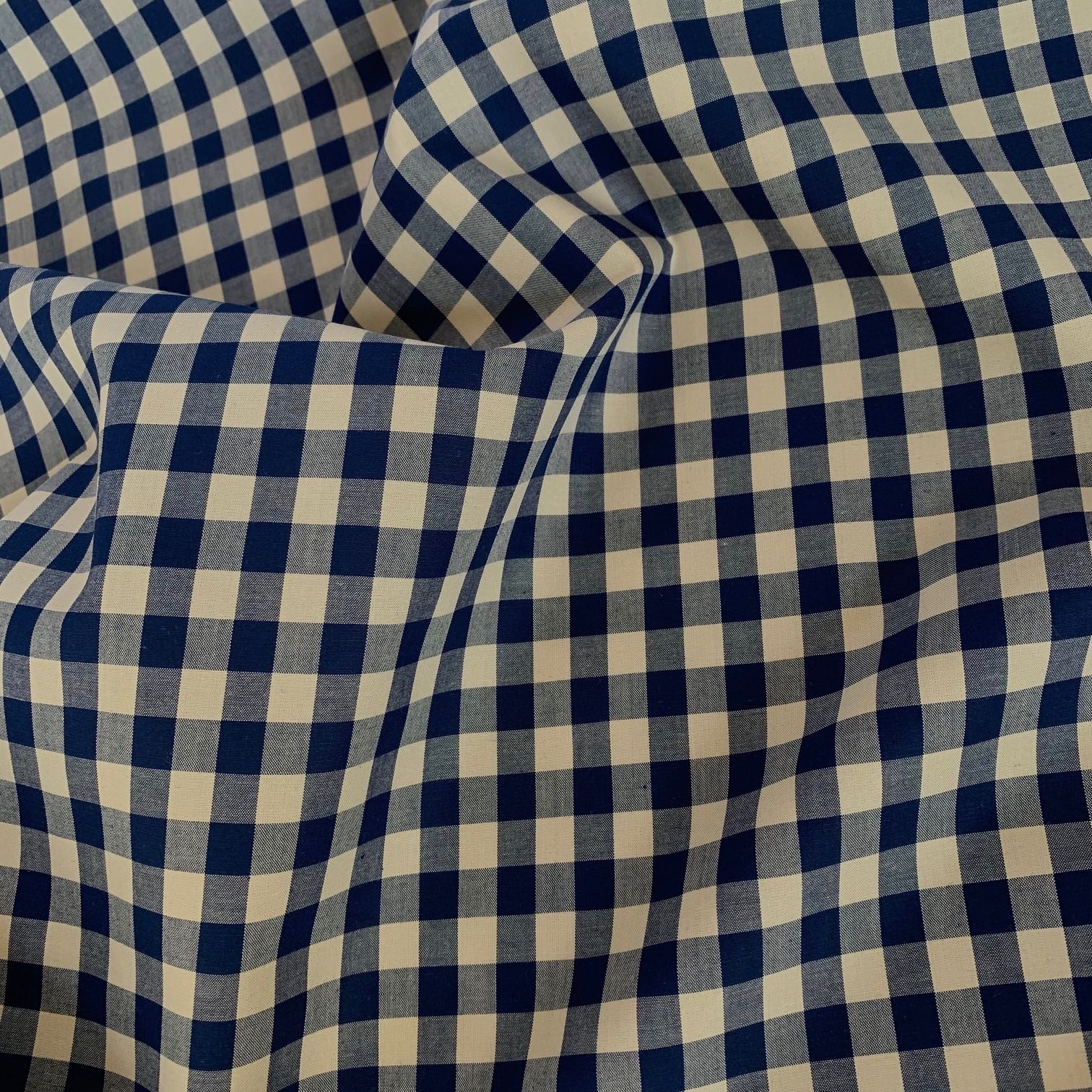 Woven Cotton Gingham Fabric Blue