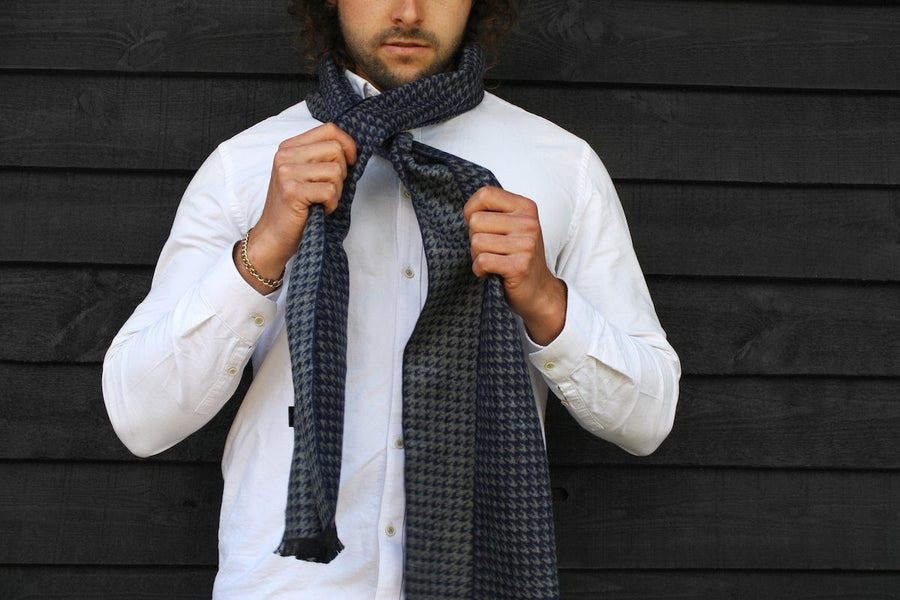 Scarves - Blue Houndstooth Bamboo Scarf