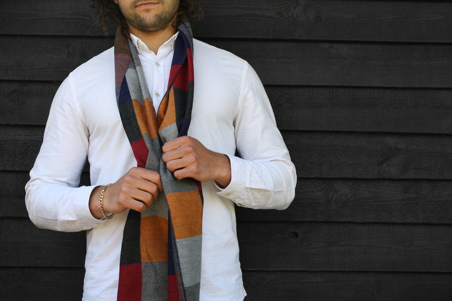 Scarves - Multi Coloured Check Bamboo Scarf