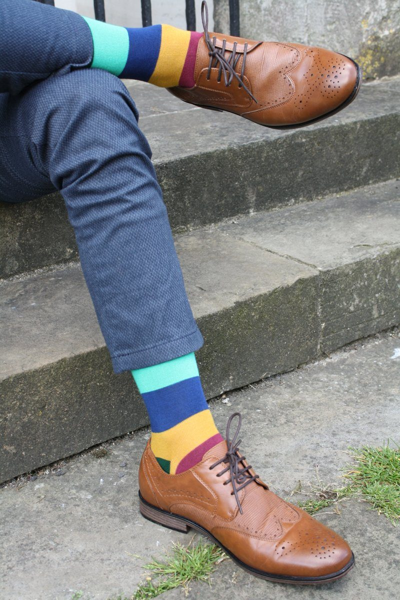 Socks - Block Striped Bamboo Socks