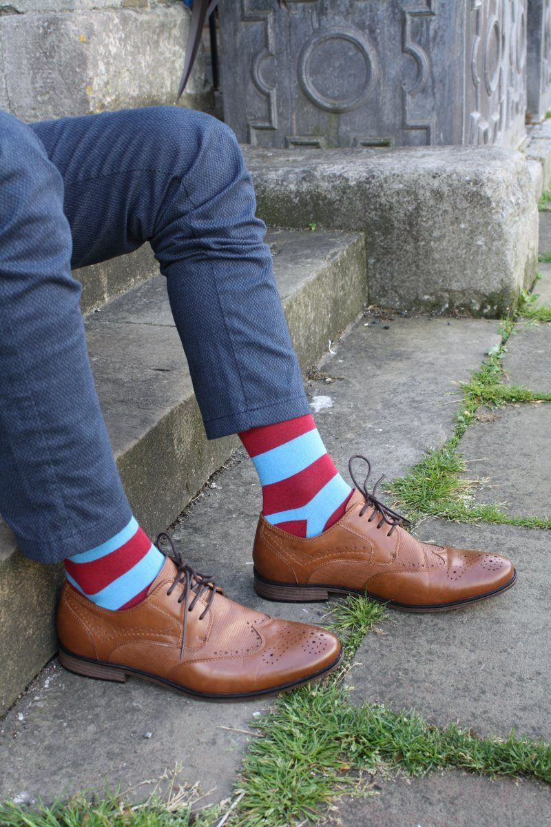 Socks - Blue And Burgundy Striped Bamboo Socks