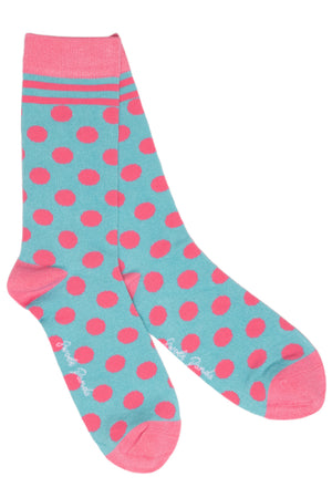 Swole Panda Socks UK 4-7 (US 5-7.5 / EU 37-40) Blue and Pink Polka Dot Bamboo Socks