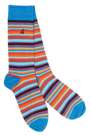 Blue and Red Narrow Striped Bamboo Socks - Swole Panda