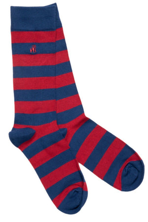 Socks - Burgundy Striped Bamboo Socks