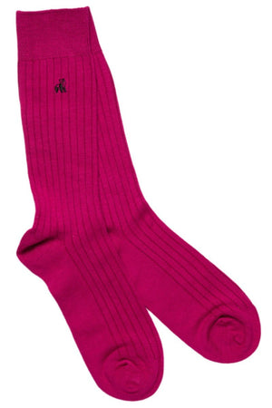 Swole Panda Socks UK 7-11 (US 8-12 / EU 40-47) Cerise Bamboo Socks