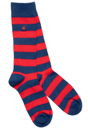 Classic Red Striped Bamboo Socks - Swole Panda
