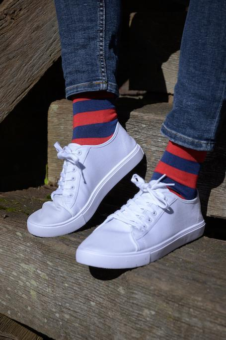Socks - Classic Red Striped Bamboo Socks