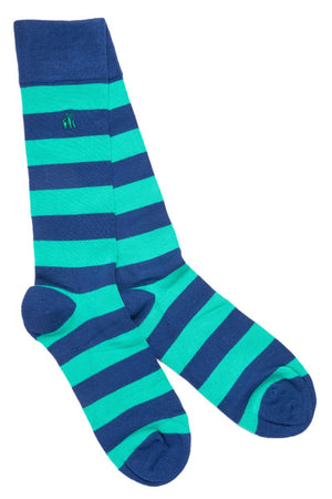 Swole Panda Socks UK 7-11 (US 8-12 / EU 40-47) Lime Green Striped Bamboo Socks