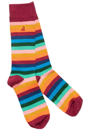Socks - Multi Fine Striped Bamboo Socks (Comfort Cuff)