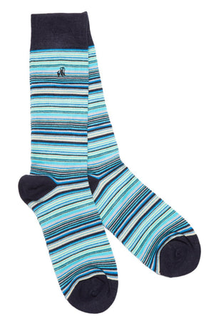 Navy and Blue Narrow Striped Bamboo Socks - Swole Panda