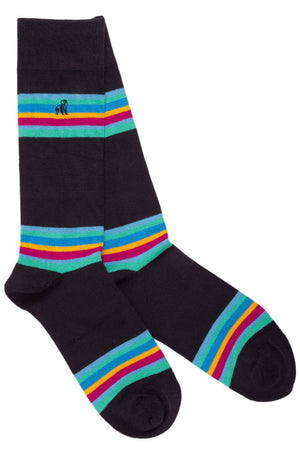 Swole Panda Socks UK 7-11 (EU 40-47 / US 8-12) Navy Bold Striped Bamboo Socks