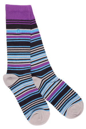 Purple and Blue Striped Bamboo Socks - Swole Panda