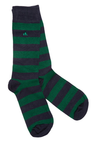 Swole Panda Socks UK 7-11 (US 8-12 / EU 40-47) Racing Green Striped Bamboo Socks