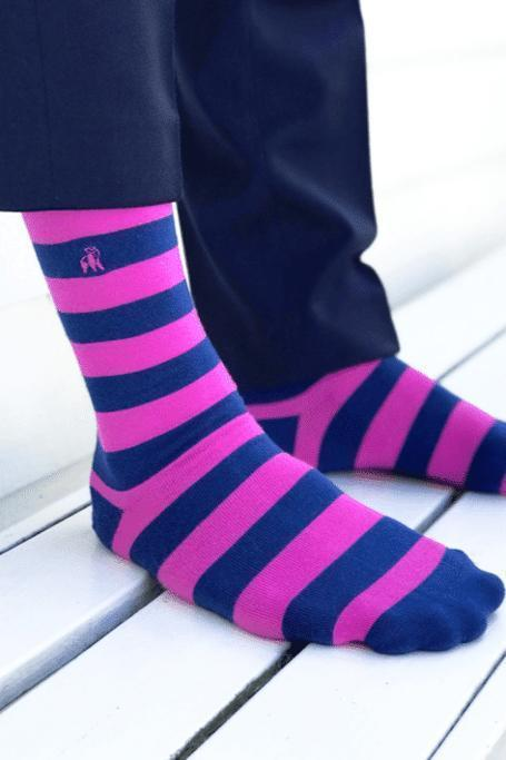 Socks - Rich Pink Striped Bamboo Socks (Comfort Cuff)