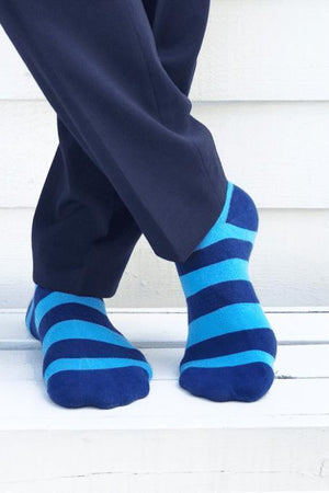 Sky Blue Striped Bamboo Socks - Swole Panda