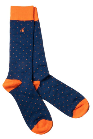 Spotted Orange Bamboo Socks - Swole Panda