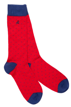 Spotted Red Bamboo Socks - Swole Panda