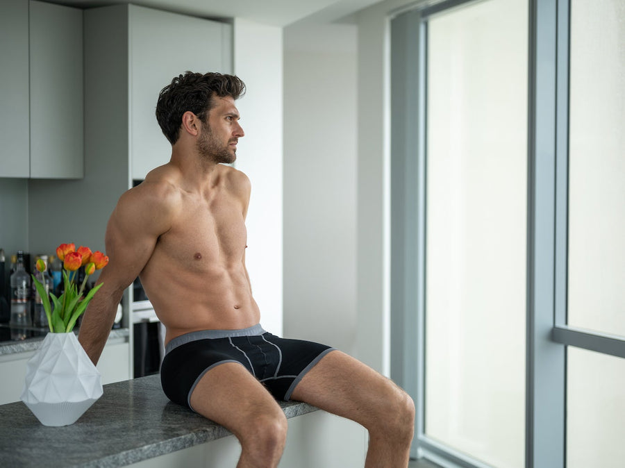 Underwear - Bamboo Boxers - Black / Grey Band