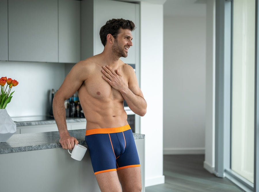 Underwear - Bamboo Boxers - Navy / Orange Band