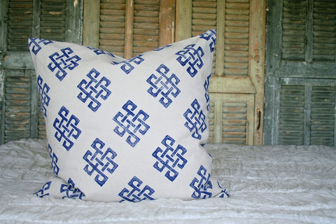 Blue Geometric Pillow
