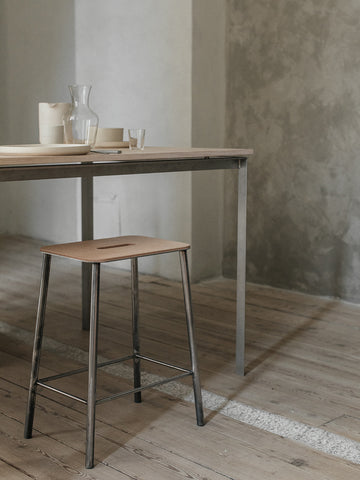 Adam Stool Raw Steel With Leather, Frama