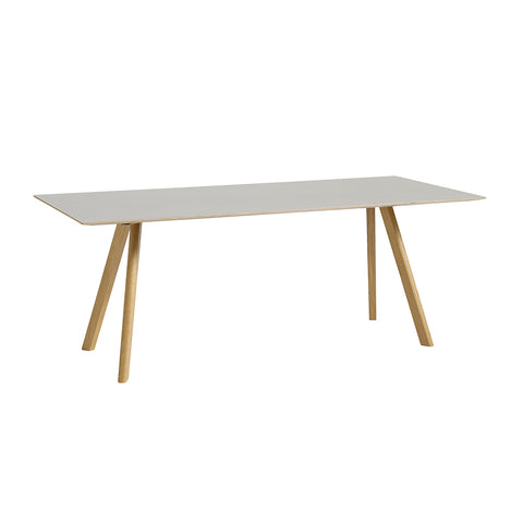 CPH30 Table Clear Lacquered With Off White Linoleum Top, Hay