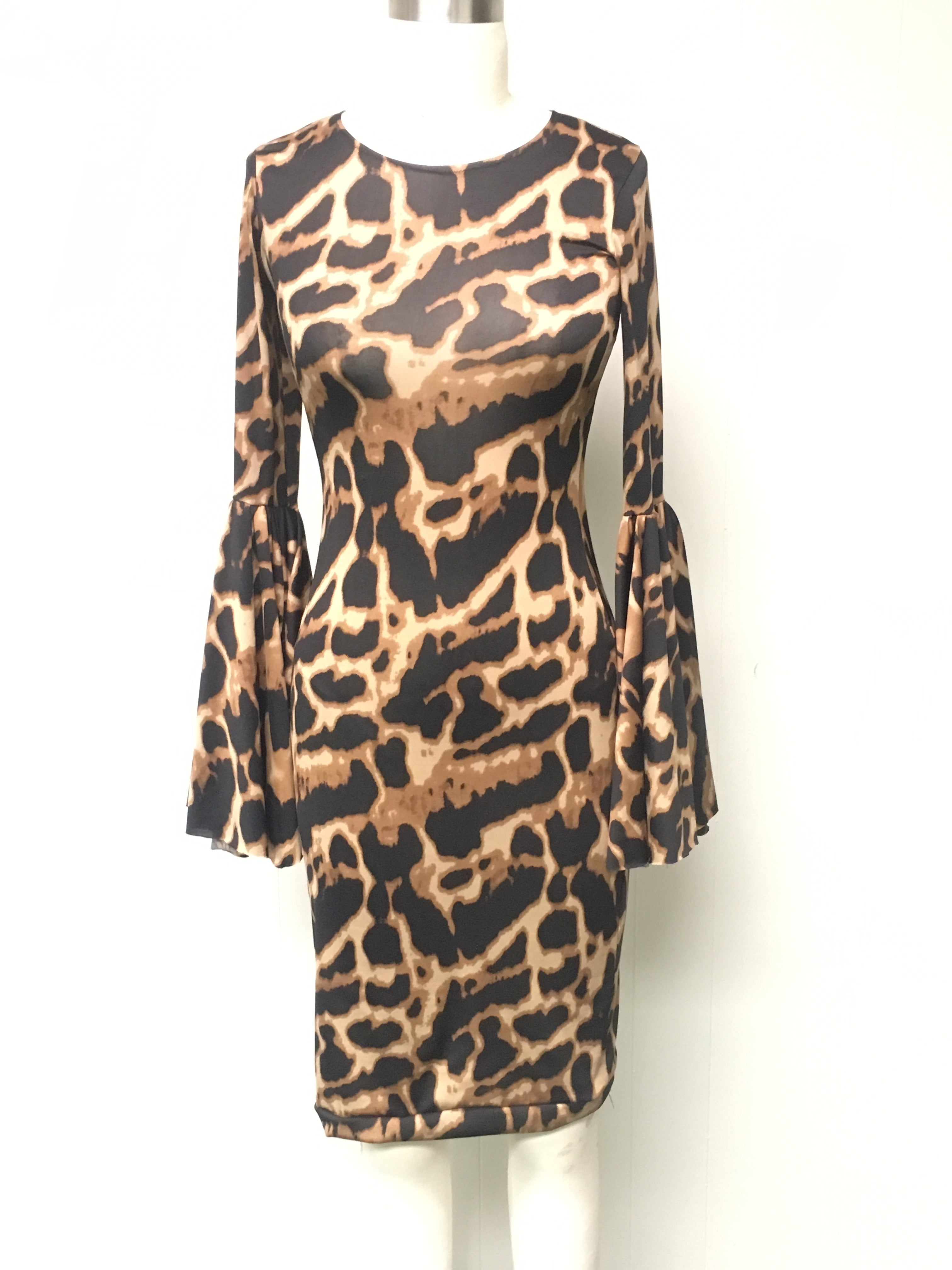 Leopard Print Flare Sleeve Dress