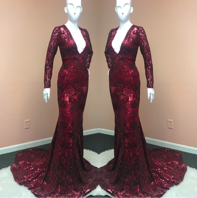 Ruby Sequined Gown